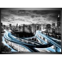 Foto canvas schilderij Wolkenkrabber   Blauw, Grijs