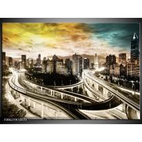 Foto canvas schilderij Wolkenkrabber | Geel, Blauw, Sepia
