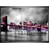 Foto canvas schilderij Brug | Paars, Roze, Grijs