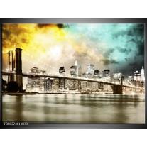 Foto canvas schilderij Brug | Geel, Bruin, Groen