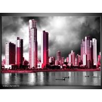 Glas schilderij Wolkenkrabber | Roze, Grijs,