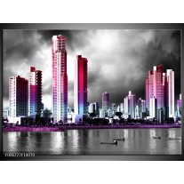Foto canvas schilderij Wolkenkrabber | Paars, Roze, Grijs