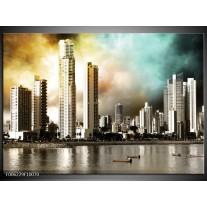 Foto canvas schilderij Wolkenkrabber | Bruin, Sepia, Groen