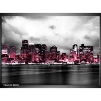 Foto canvas schilderij Wolkenkrabber | Roze, Grijs
