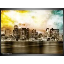 Foto canvas schilderij Wolkenkrabber | Sepia, Bruin, Geel