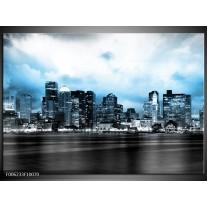 Foto canvas schilderij Wolkenkrabber | Blauw, Grijs