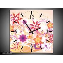 Wandklok op Canvas Abstract | Kleur: Roze, Paars, Oranje | F006234C