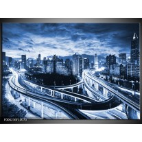 Foto canvas schilderij Brug | Blauw, Grijs