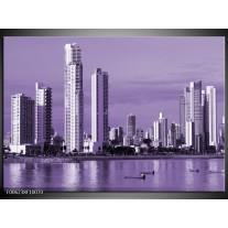Foto canvas schilderij Wolkenkrabber | Paars