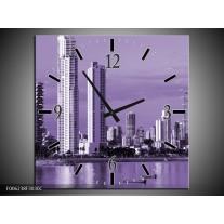 Wandklok op Canvas Wolkenkrabber | Kleur: Paars | F006238C