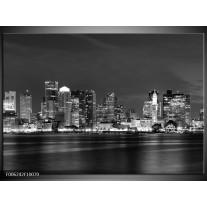 Foto canvas schilderij Wolkenkrabber   Zwart, Grijs