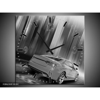 Wandklok op Canvas Auto | Kleur: Zwart, Grijs | F006244C
