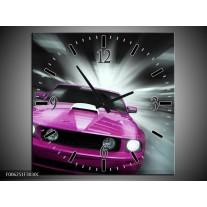 Wandklok op Canvas Mustang | Kleur: Paars, Roze, Grijs | F006251C