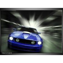 Foto canvas schilderij Mustang | Blauw, Grijs