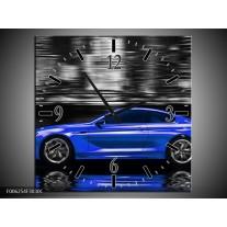 Wandklok op Canvas Auto | Kleur: Blauw, Grijs | F006254C