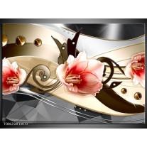Foto canvas schilderij Bloem   Roze, Creme, Grijs