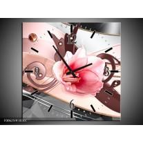 Wandklok op Canvas Bloem | Kleur: Roze, Grijs | F006259C