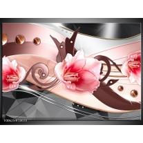 Glas schilderij Bloem   Roze, Grijs