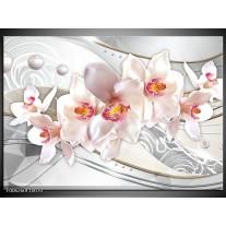 Foto canvas schilderij Orchidee | Grijs, Roze
