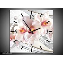 Wandklok op Canvas Orchidee | Kleur: Grijs, Roze | F006260C
