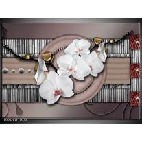 Foto canvas schilderij Orchidee | Bruin, Wit, Grijs