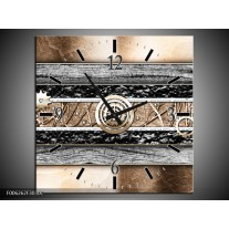 Wandklok op Canvas Modern | Kleur: Bruin, Grijs | F006262C