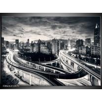 Foto canvas schilderij Wolkenkrabber | Grijs,