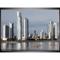Foto canvas schilderij Wolkenkrabber | Grijs, Blauw