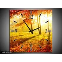 Wandklok op Canvas Natuur | Kleur: Bruin, Geel, Rood | F006266C