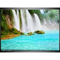 Foto canvas schilderij Waterval | Groen, Blauw
