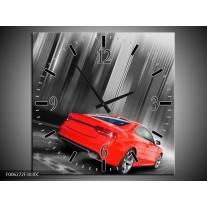 Wandklok op Canvas Auto | Kleur: Rood, Grijs | F006272C