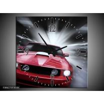 Wandklok op Canvas Mustang   Kleur: Rood, Grijs   F006273C