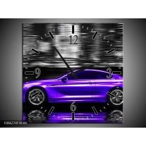 Wandklok op Canvas Auto   Kleur: Paars, Grijs, Zwart   F006274C