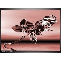 Glas Schilderij Bloem, Roos | Bruin, Rood