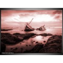 Glas Schilderij Boot | Bruin, Rood
