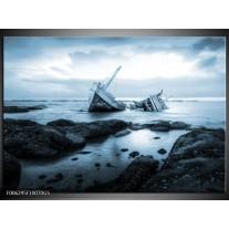 Glas Schilderij Boot | Blauw, Grijs