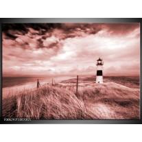 Glas Schilderij Vuurtoren | Bruin, Rood