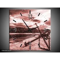 Wandklok Schilderij Anker | Bruin, Rood