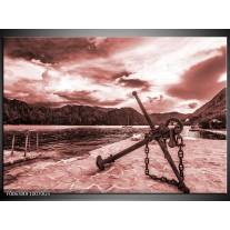 Glas Schilderij Anker | Bruin, Rood