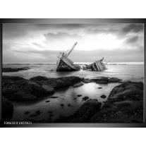 Glas Schilderij Boot | Zwart, Grijs