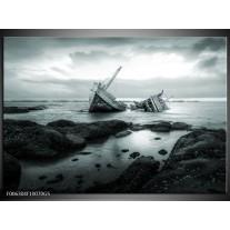 Glas Schilderij Boot | Grijs, Groen