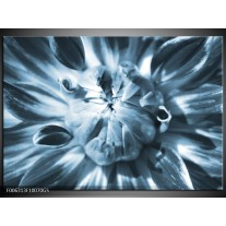 Glas Schilderij Bloem | Blauw