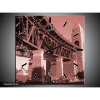 Wandklok Schilderij Steden | Bruin, Rood