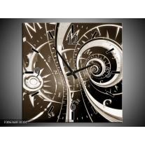 Wandklok Schilderij Abstract | Sepia, Bruin