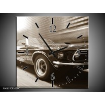Wandklok Schilderij Muziek, Mustang | Sepia