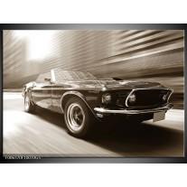 Glas Schilderij Muziek, Mustang | Sepia