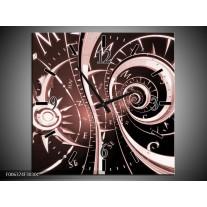 Wandklok Schilderij Abstract | Bruin, Rood