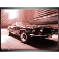 Glas Schilderij Auto, Mustang | Bruin, Rood