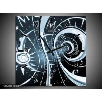 Wandklok Schilderij Abstract | Zwart, Blauw