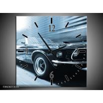 Wandklok Schilderij Auto, Mustang | Blauw, Wit